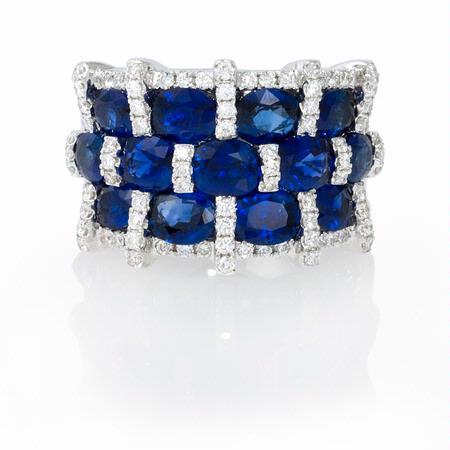 57ct Diamond And Oval Blue Sapphire 18k White Gold Three