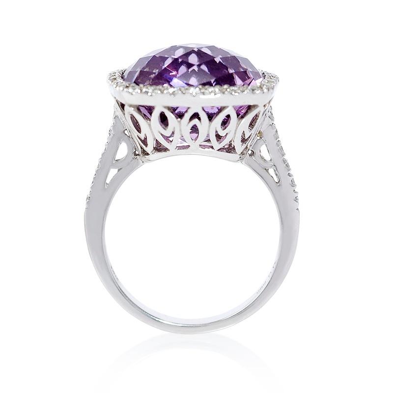 40ct Diamond And Purple Amethyst 14k White Gold Ring