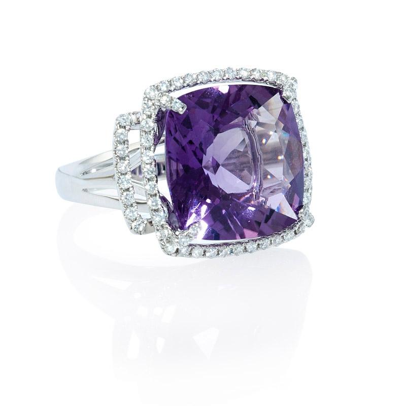 45ct Diamond And Purple Amethyst 18k White Gold Ring