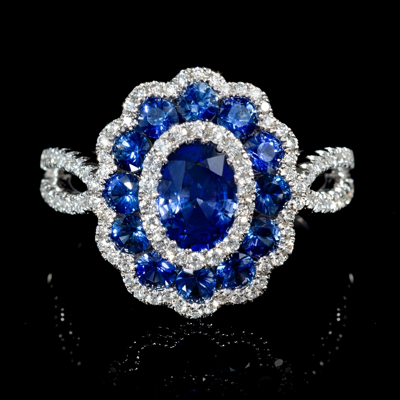 45ct Diamond And Blue Sapphire 18k White Gold Flower Ring