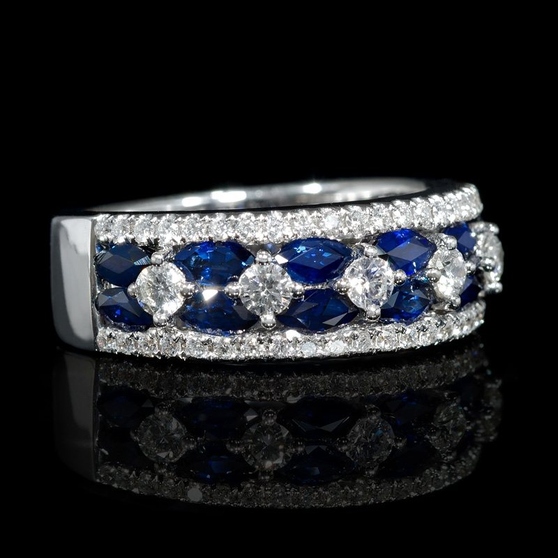 67ct Diamond And Blue Marquise Sapphire 18k White Gold Ring