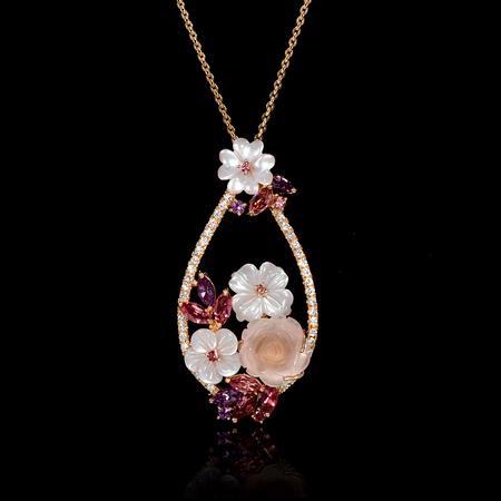 30ct Diamond 18k Rose Gold Flower Pendant Necklace