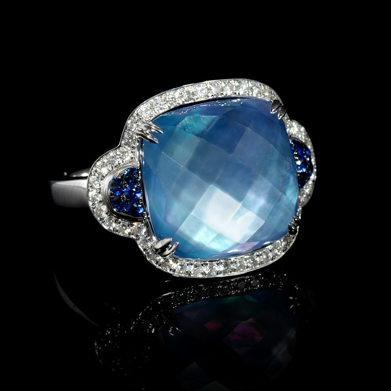 24ct Diamond White Topaz And Mother Of Pearl Lapis