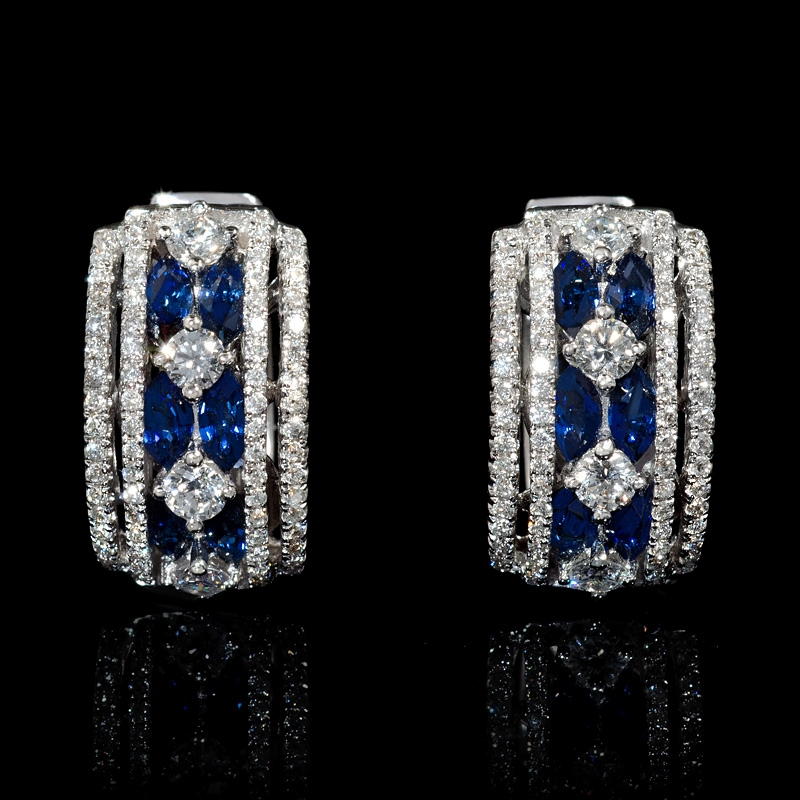 90ct Diamond And Blue Sapphire 18k White Gold Huggie Earrings