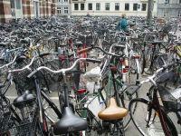 Un parcheggio incustodito di biciclette