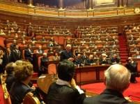 In Senato mentre Napolitano parla ai presenti in aula