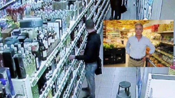 Il titolare del negozio Giancarlo Crocini e una ripresa delle telecamere
