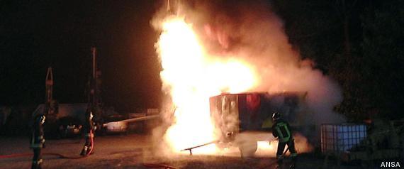 Incendio a un cantiere in Val Susa