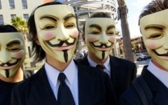 Blitz di Anonymous a Firenze in piazza Signoria