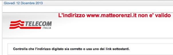 Ecco cosa appare digitando il sito di Renzi
