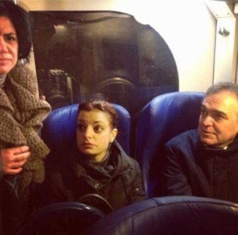 Rossi in viaggio con i pendolari toscani