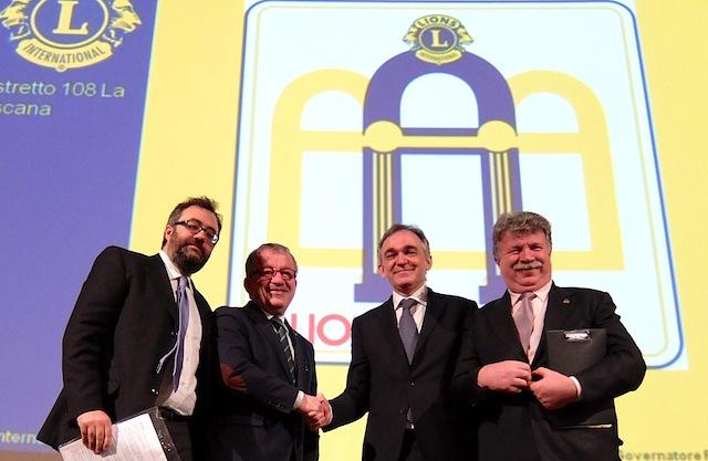 da sin. Giacomo Guerrini, Roberto Maroni, Enrico Rossi, Fiorenzo Smalzi