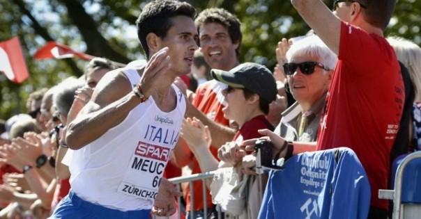Daniele Meucci taglia il traguardo della Maratona ai campioneti Europei di atletica 2014, a Zurigo