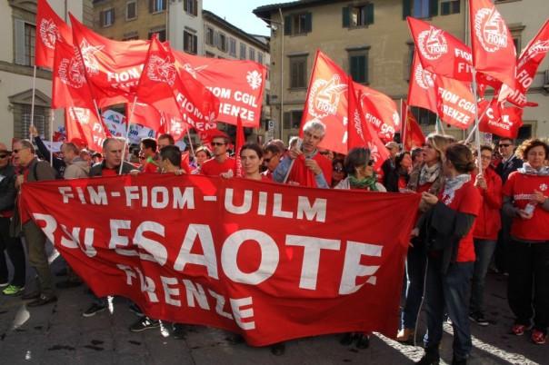 Una recente manifestazione Fiom a Firenze