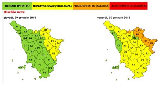Allerta neve in Toscana venerdì 30 gennaio