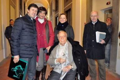 Il sindaco Dario Nardella con Franco Zeffirelli nel palazzo di San Firenze