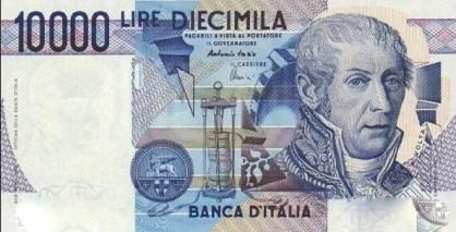 Alessandro Volta rappresentato su una delle ultime banconote da 10.000 lire