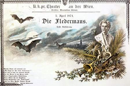 Il manifesto della prima rappresentazione de «Il pipistrello» di Strauss