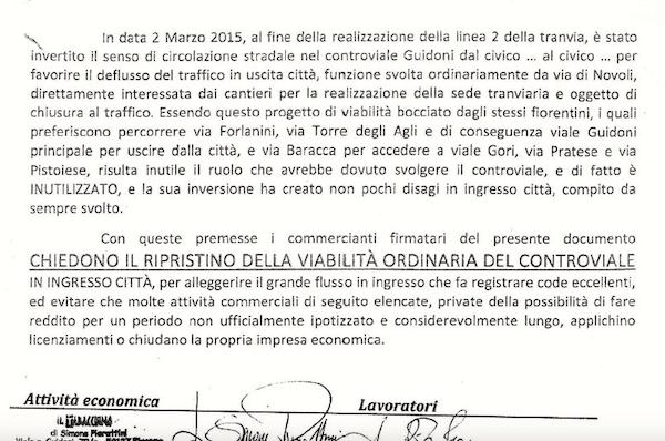 La petizione con le firme dei commercianti  di viale Guidoni indirizzata a Palazzo Vecchio