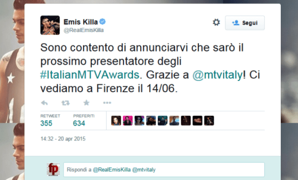 Mtv Awards 2015, il tweet di Emis Killa ai fan