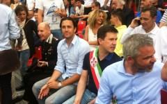 Calcio Storico: Luca Toni (magnifico messere)  e Cesare Prandelli festeggiano Firenze