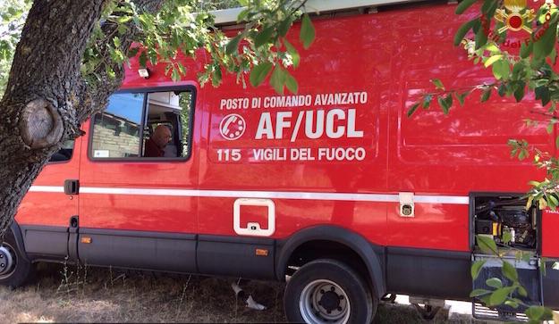 La base operativa delle ricerche della donna scomparsa  a Volterra gestita dai Vigili del Fuoco