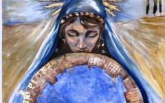 Palio di Siena 16 agosto 2015: il drappellone della pittrice fiorentina Elisabetta Rogai. Fatto col vino