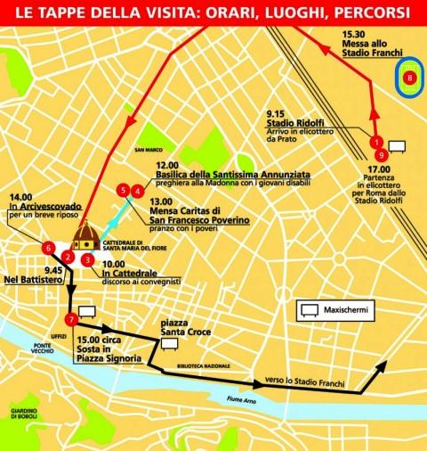 Il percorso del Papa a Firenze