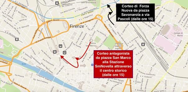 La mappa delle due manifestazioni a Firenze di sabato 17 ottobre 2015