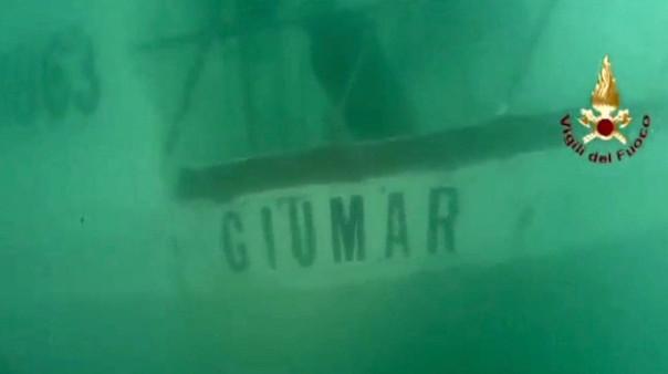 Il relitto del peschereccio Giumar