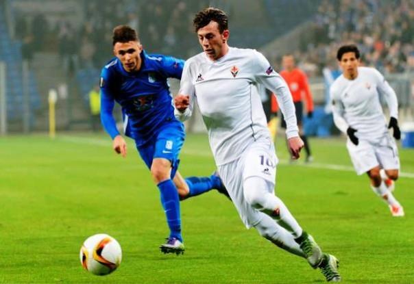 Lech Poznan - Fiorentina, Bernardeschi in azione