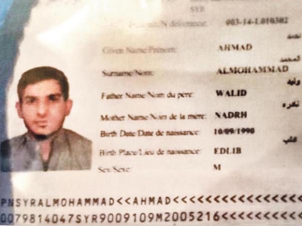 Il passaporto siriano (probabilmente falso)  trovato intatto accanto ad un terrorista suicida allo Stade de France