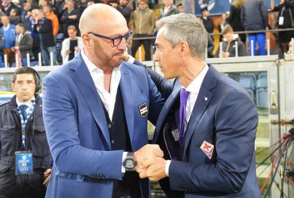 Sampdoria-Fiorentina, Walter Zenga e Paulo Sousa prima della partita. Alla fine hanno discusso animatamente