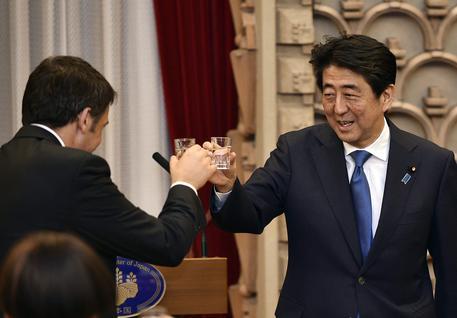 Italian Prime Minister Matteo Renzi meets Japan's Prime Minister Shinzo Abe