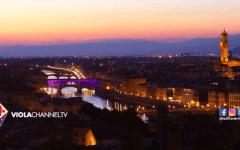 Il Ponte Vecchio illuminato di viola
