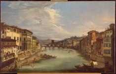 Giovanni Signorini, Veduta di Firenze con il fiume Arno da Ponte Vecchio ,1844
