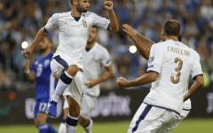 L'esultanza degli azzurri sul momentaneo 2-0