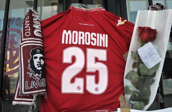 AS Livorno Jersey n°25 out of the Armando Picchi stadium in Livorno 15 April 2012 in memories to Livorno's player Piermario Morosini died yesterday during serie B italian championship Pescara vs Livorno in Pescara. ANSA/FRANCO SILVI