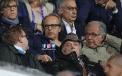 Andrea Della Valle in tribuna durante la partita con la Sampdoria