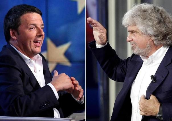 Combo del premier Matteo Renzi e il leader M5S Beppe Grillo ANSA
