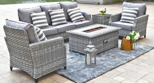 wicker patio furniture with fire pit table