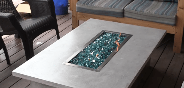 Fire pit tables in the garden
