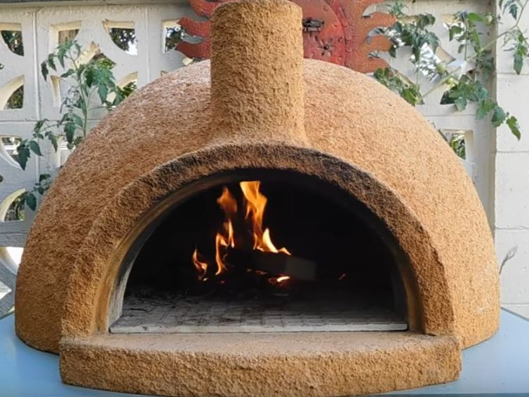 Arrangement of patio with chiminea