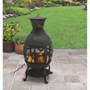 Cast Iron Chiminea Outdoor Fireplace Fire Pit Antique Bronze W regarding Outdoor Cast Iron Fireplace