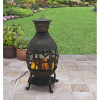 Cast Iron Chiminea Outdoor Fireplace Fire Pit Antique Bronze W regarding Outdoor Cast Iron Fireplace