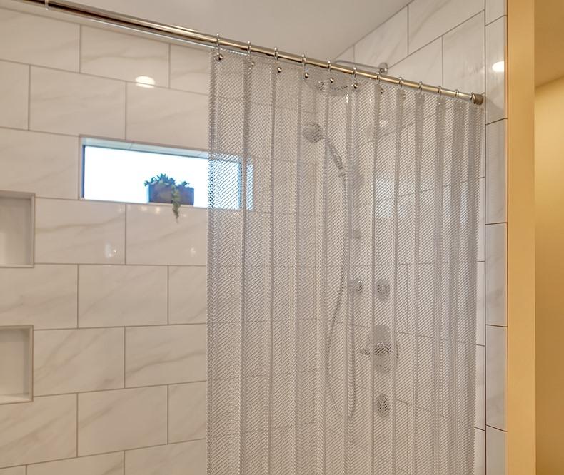 brite aluminum serenity mesh shower curtain