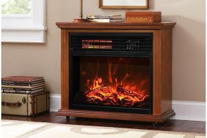 best electric fireplace heater reviews - XtremepowerUS Infrared Quartz Electric Fireplace Heater Oak Finish