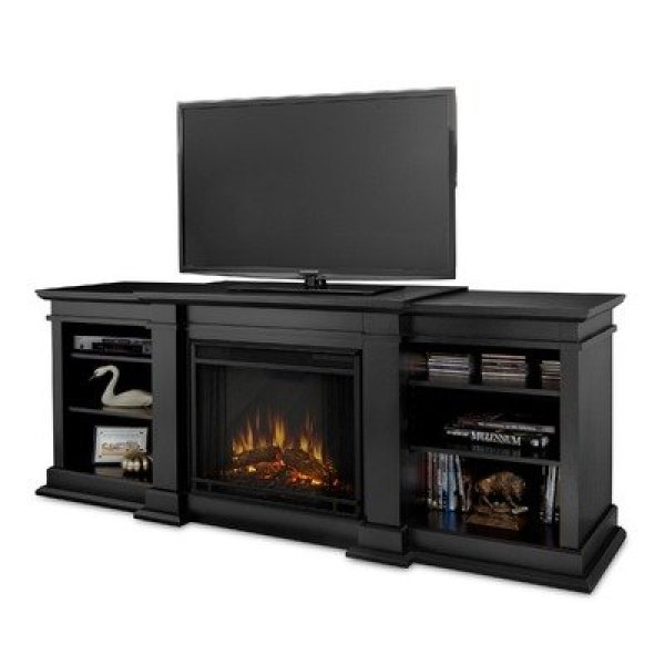 best electric fireplace tv stand Reviews-Real Flame Fresno G1200-X-B Entertainment Unit with Electric Fireplace