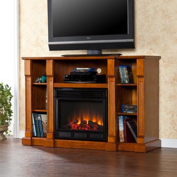 best electric fireplace tv stand Reviews-Kendall Electric Media Fireplace Review - Glazed Pine
