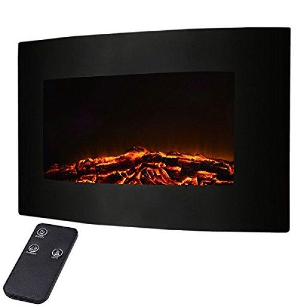 "Best wall mount electric fireplace - Giantex 35"" Xl Large 1500w Adjustable Electric Wall Mount Fireplace"